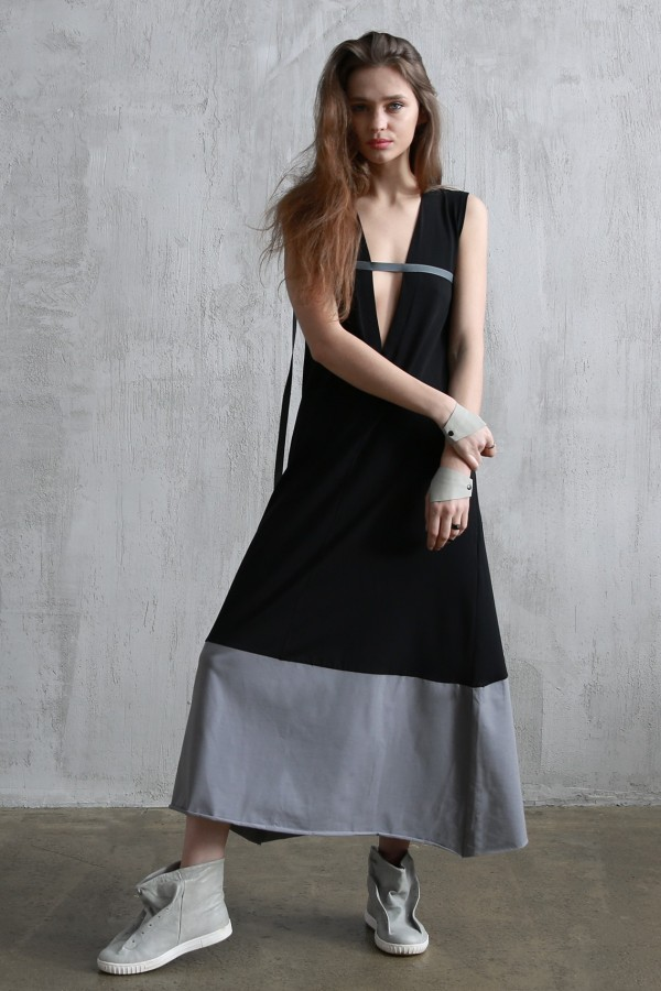 Dress Amelie Cut Black Cotton